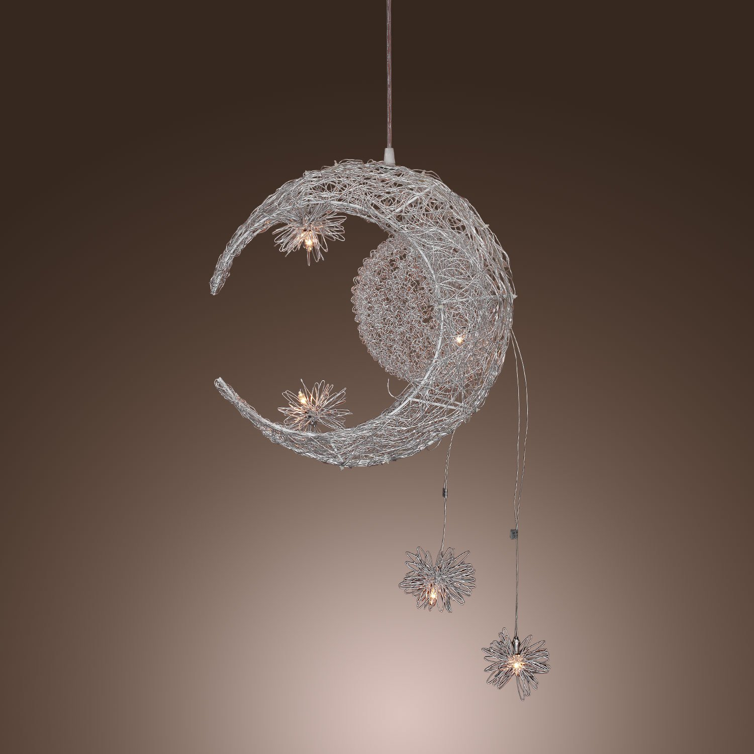 Lightinthebox moon star featured pendant light with 5 lights lightinthebox moon star featured pendant light with 5 lights globe mini style pendant lights home ceiling light fixture for dining room living room mozeypictures Gallery