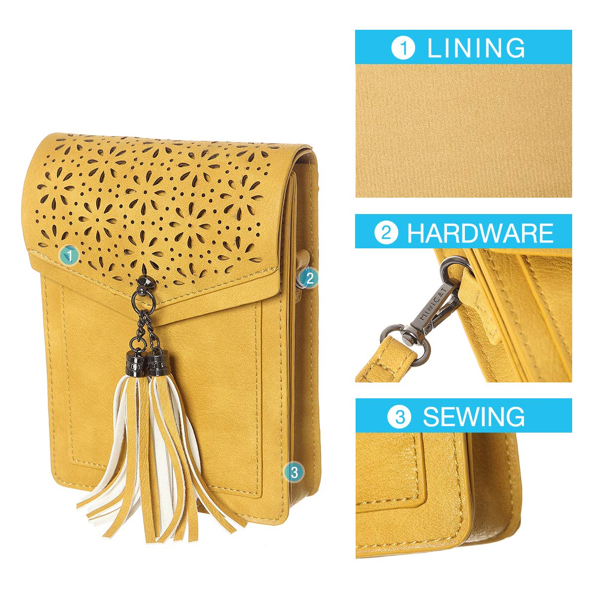 MINICAT Fringe Thicher Pocket Small Crossbody Bags Cell Phone Purse Wallet For Women With Credit Card Slots(Yellow) by MINICAT (Image #4)