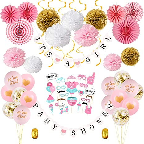 Amazon Com Girl Baby Shower Decorations Kit Pink Gold Baby Shower