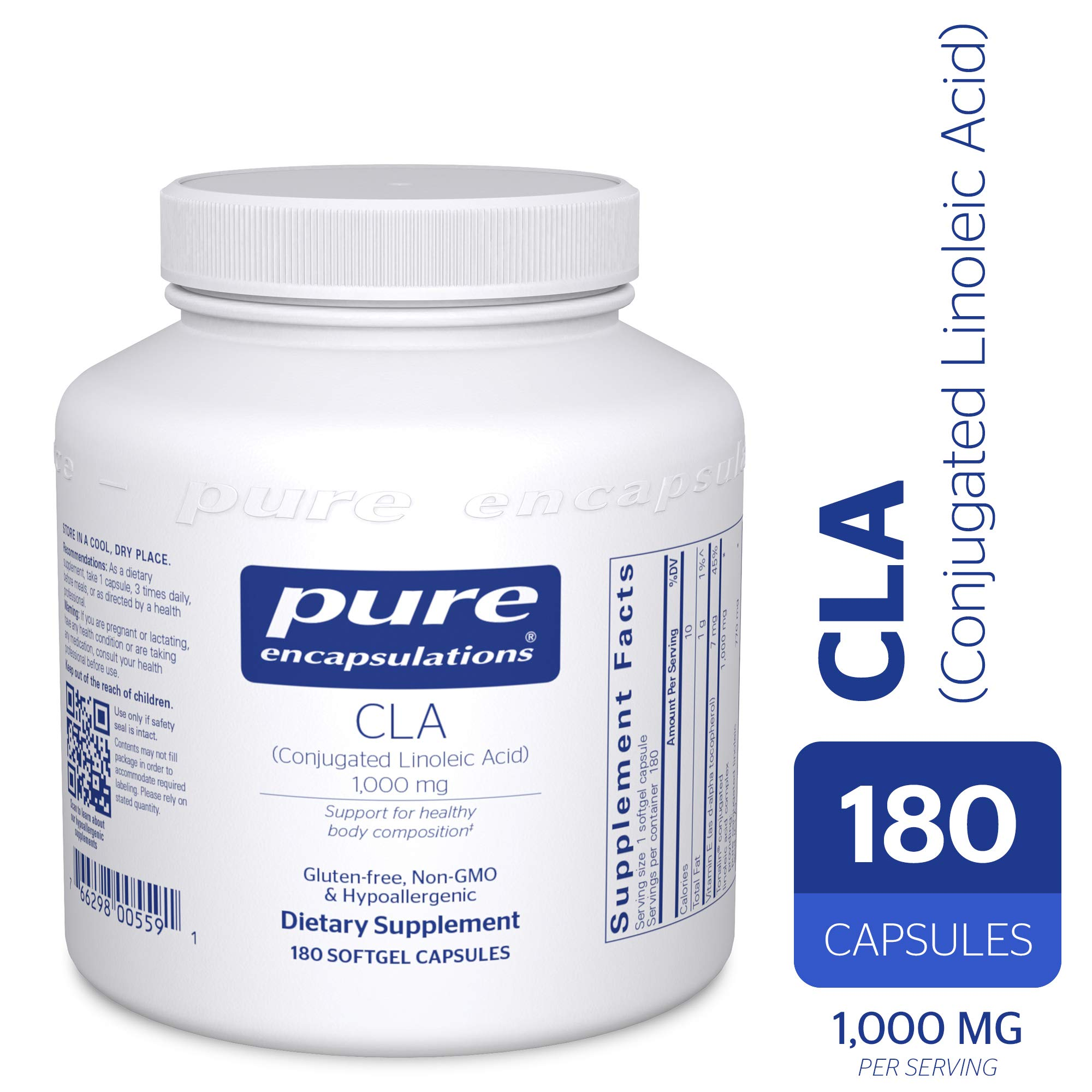 Pure Encapsulations - CLA (Conjugated Linoleic Acid) 1,000 mg - Promotes Healthy Body Composition with Healthy Diet and Exercise* - 180 Softgel Capsules by Pure Encapsulations (Image #1)