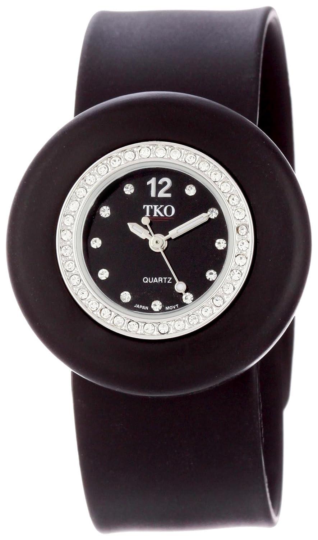 TKO ORLOGI Women s Mini Crystal Slap Watch with Silicone Rubber Bracelet