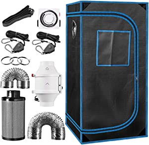"""24"""" x 24"""" x 48"""" Indoor Plant Grow Tent Complete Kit, Hydroponics Tent System with 4"""" Inline Fan + Carbon Filter + Ducting Combos + Timer + Hangers"""