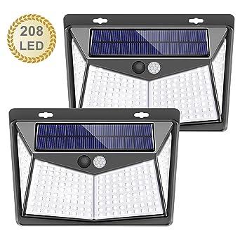 Mejoradas 40 LED 4 paquetes Luces de seguridad solar Sensor de movimiento Luces solares Luces al aire libre a prueba de agua para jard/ín Cerca Patio Garaje Luz Solar de Exterior
