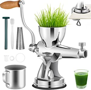 VEVOR Manual Wheatgrass Juicer Stainless Steel Hand Crank Wheatgrass Juicer Hand Wheatgrass Grinder with Suction Cup Base & Table-top Clamp Manual Juicer Extractor for Ginger Celery Apple Grape, etc.
