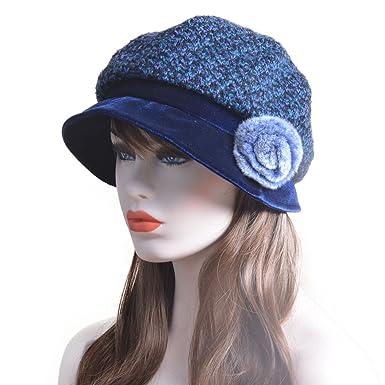 Navy Blue Womens French Velvet Pom Trimmed Slouchy Beanie Bucket Cap Hat  T173 bfe77c8c627