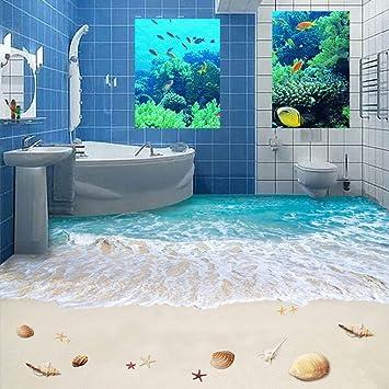 Fotoboden Badezimmer | Lmopop Kundenspezifische Strand Meer Wasser Foto Boden Tapete 3d