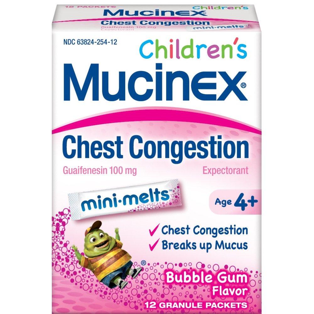 Mucinex Children's Mini Melts, Chest Congestion, Bubble Gum, 12ct by Mucinex