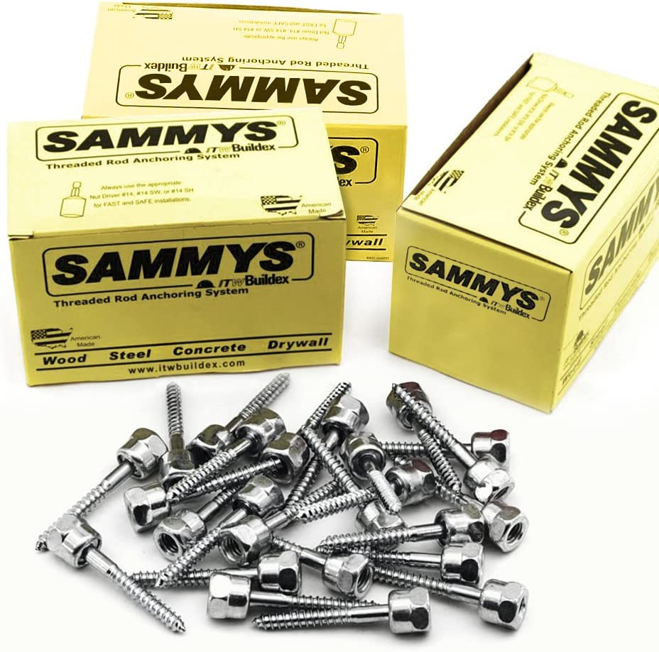 Everflow Sammys 8021957-50 SWG 20 3//8 Inch Screw Sidewinder Designed for Wood Pack of 50 Installs Horizontally Rod Hanger 1//4 x 2 Inch Screw Length Steel with Zinc Plated Corrosion Resistance