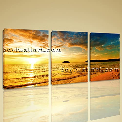 Amazon.com: Large Hawaii Beach Sunset Canvas Art Painting Living ...