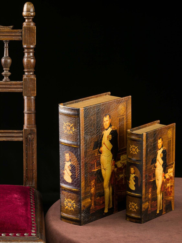 2x Schatulle Napoleon Buchattrappe Box Kästchen Schmucketui Buchtresor book box