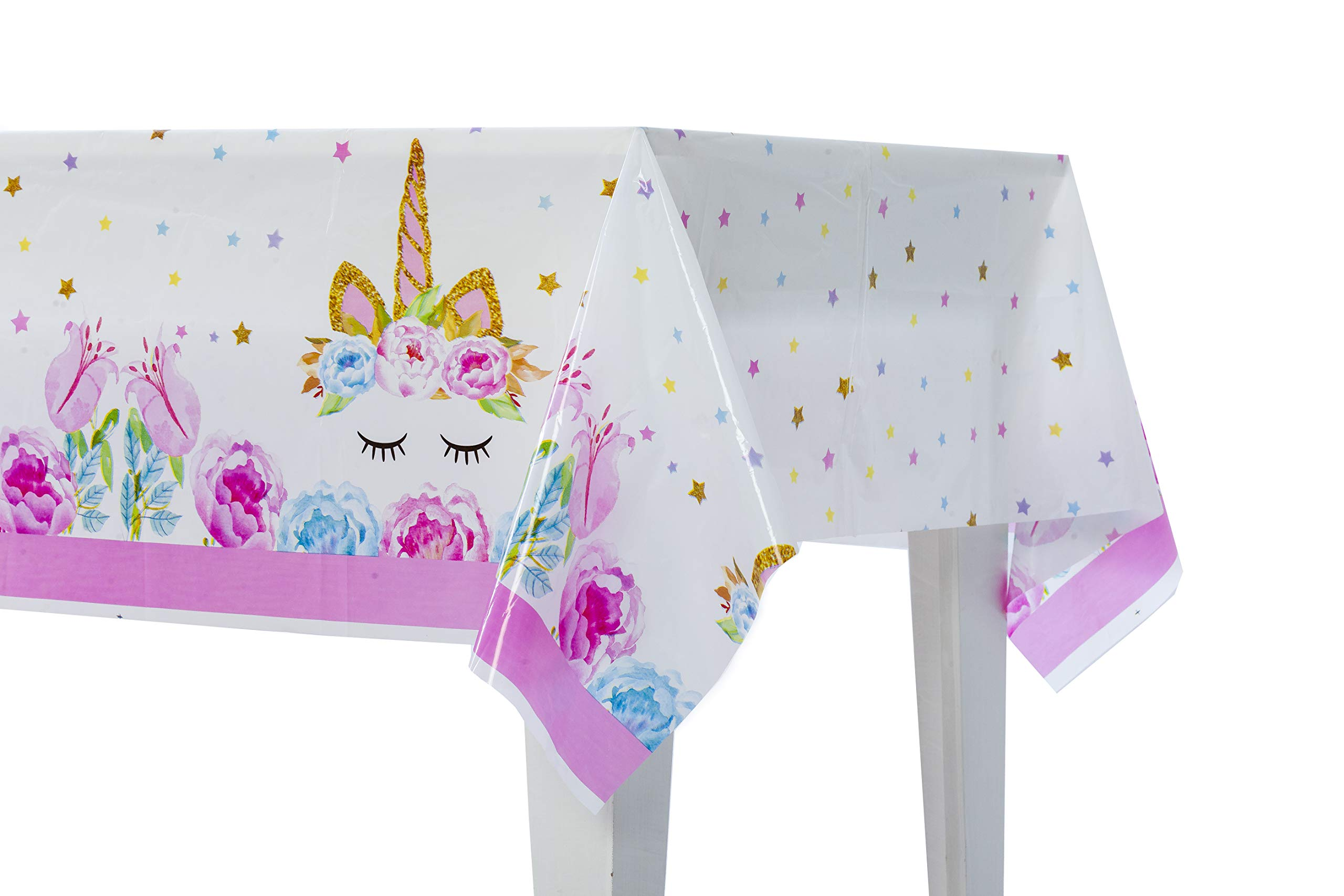 Unicorn Party Supplies | 4 Pack Plastic Tablecloth | Pink & Light Blue | 70'' X 42'' Disposable Table Cover | Birthday Decorations Baby Shower Gender Reveal | for Rectangle Tables | Girl & Boy (4)