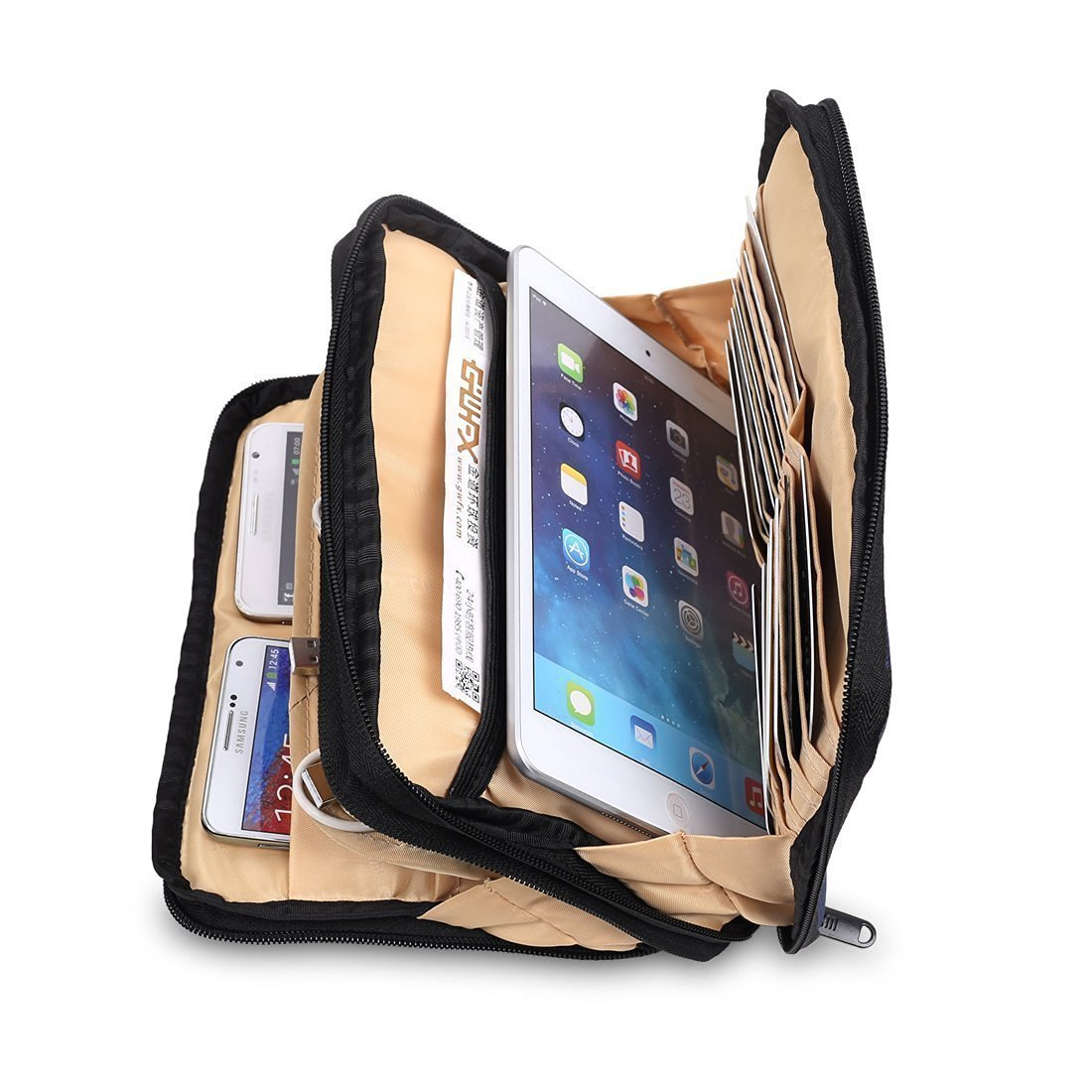 BUBM Borsa da Viaggio Portatile per Organizer Borse Impermeabili a Doppio Strato per Accessori Elettronici Mini iPad / Cavo USB   - Porpora