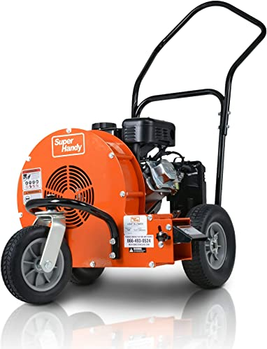 SuperHandy Leaf Blower Ultra Duty Wheeled Walk Behind Jet Sweep Manual-Propelled Powerful 7HP 212cc 4 Stroke OHV Motor Output Wind Force of 200 MPH 2000 CFM at 3600RPM for Construction Garden Lawn