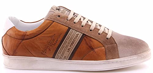 La Martina Scarpe Sneakers Uomo L3006202 Camoscio Farro Plutone Cuoio Nuove  New 899165525be