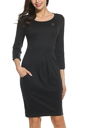Parabler Damen Etuikleid Strickkleid Freizeitkleider Business Kleid 3 4 Arm Rundhals  Knielang Winter Herbst  Amazon.de  Bekleidung 005bcf5252