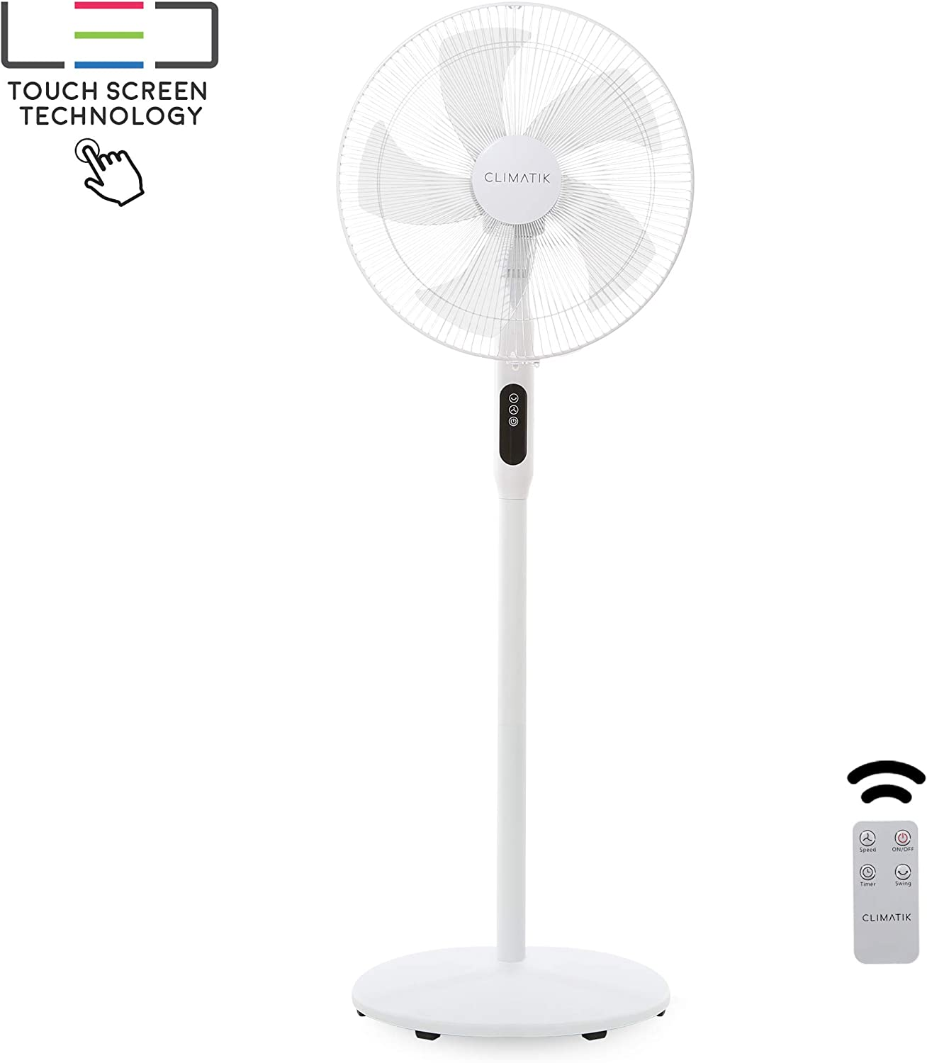 Climatik 16-Inch Pedestal Fan with Remote Control and LED Display | 3 Operational Modes | 80° Oscillation | Adjustable Height & Pivoting Fan Head | Perfect for Homes, Offices and Bedrooms (CPF-100)