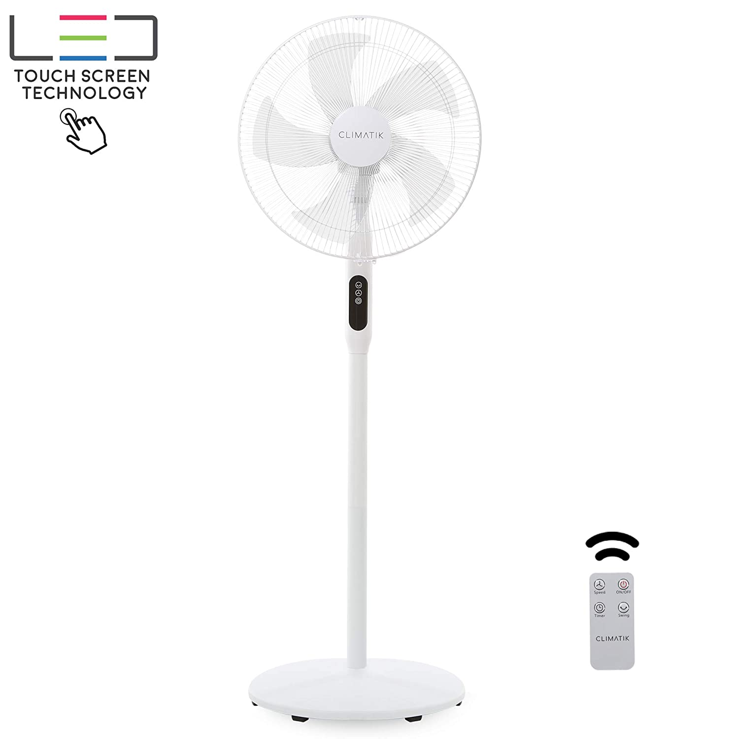 Climatik 16-Inch Pedestal Fan with Remote Control and LED Display 3 Operational Modes 80 Oscillation Adjustable Height Pivoting Fan Head Perfect for Homes, Offices and Bedrooms CPF-100