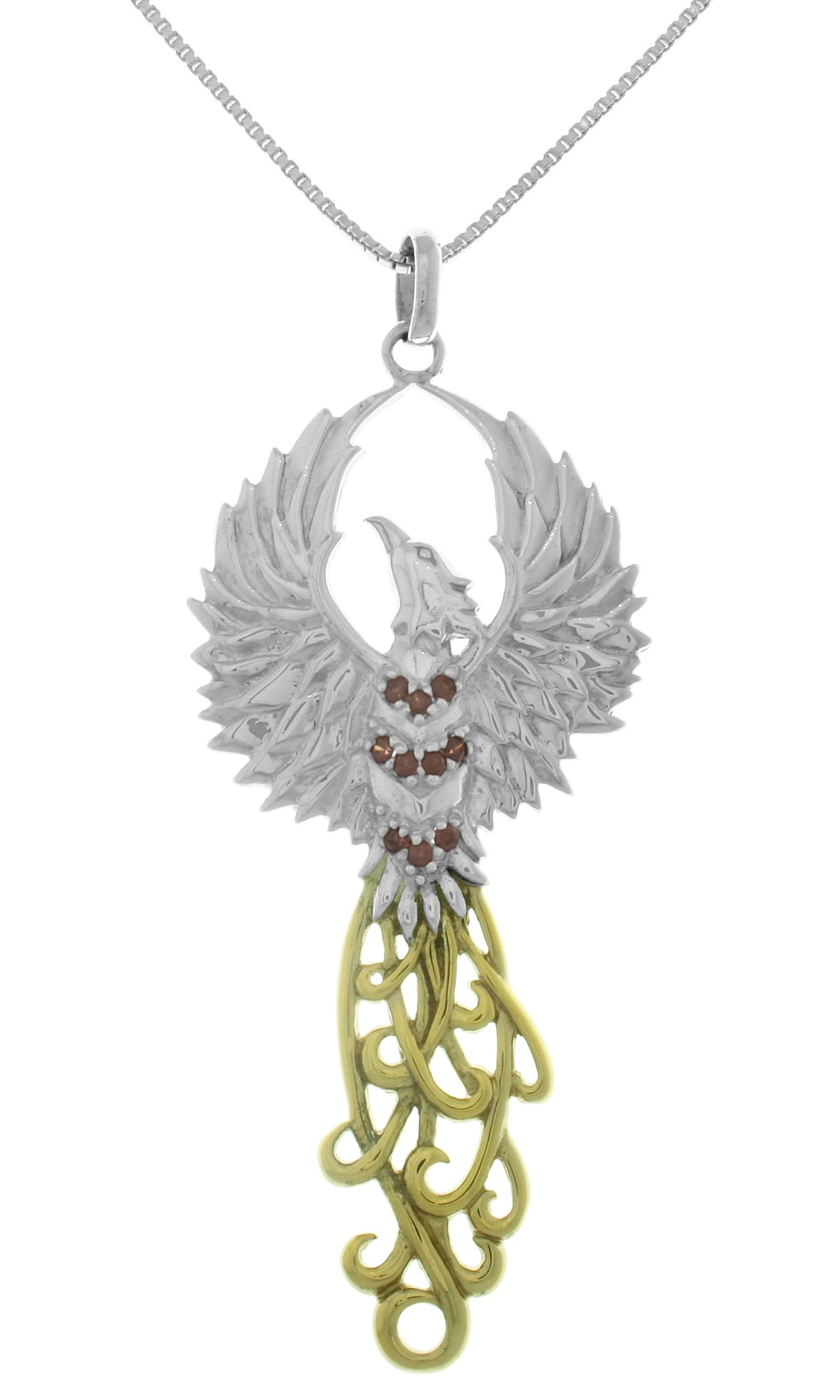 Jewelry Trends Sterling Silver and 18k Gold-Plated Rising Phoenix Pendant on 18 Inch Box Chain Necklace