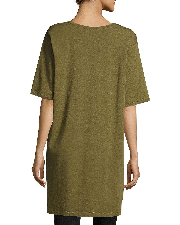 b0bd98fbbd9 Eileen Fisher Women's Organic Cotton Stretch Jersey Scoop Neck Tunic,  Olive, Petite Medium at Amazon Women's Clothing store: