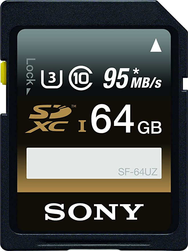 Sony 64GB High Performance Class 10 UHS-1/U3 SDHC up to 95MB/s Memory Card (SF-64UZ) Micro SD Cards at amazon