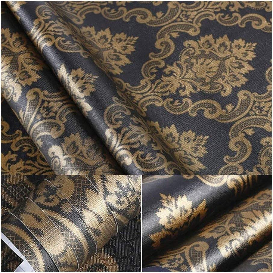 Amazon Com Household Black Gold Damask Adhesive Sheet Shelf Liner Peel Stick Dresser Drawer Sticker Wallpaper For Countertop Kitchen Cabinets Wall Table Door Desk 60cm By 200cm Home Kitchen