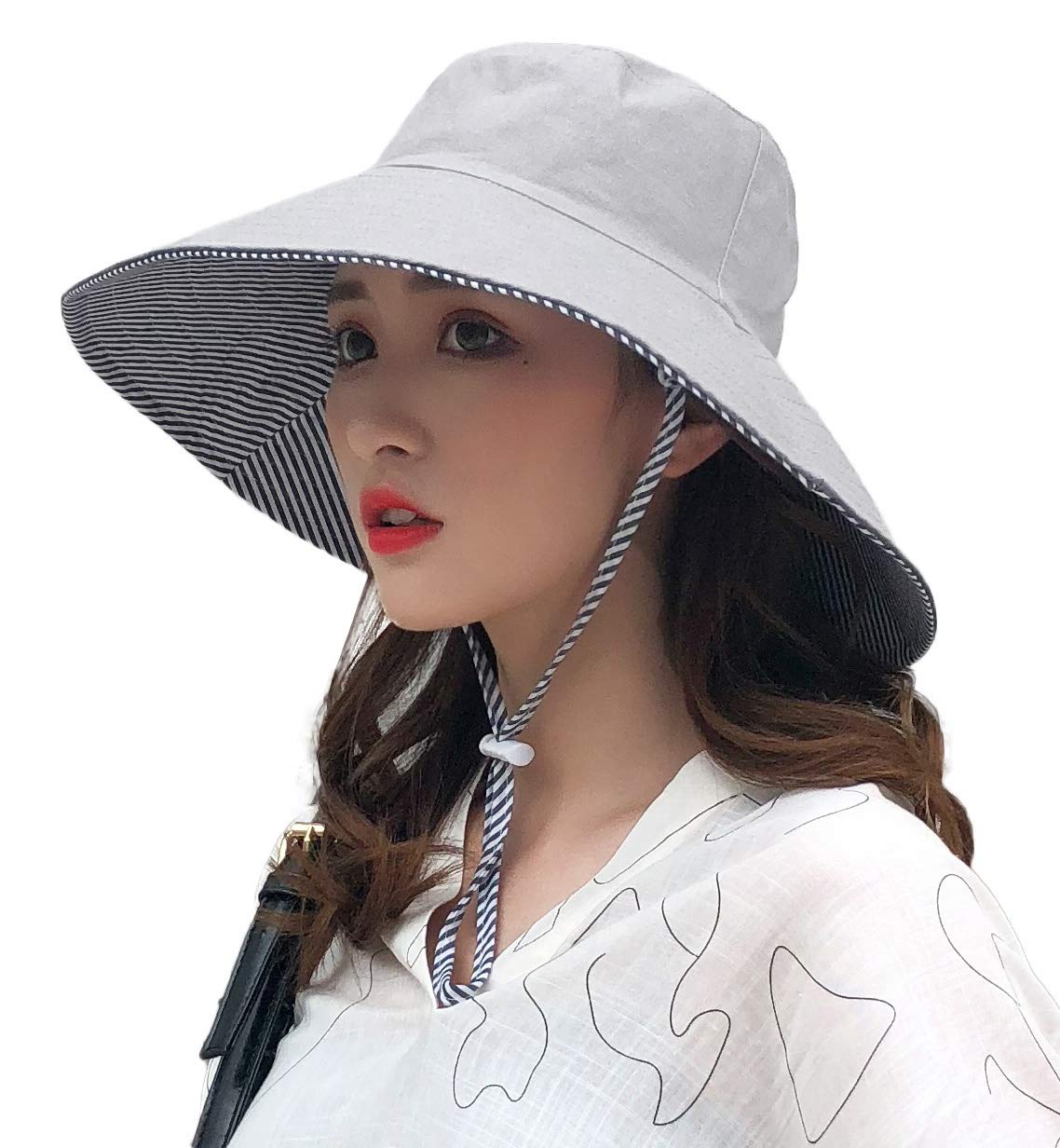 E.Joy Online Womens Reversible Bucket Hats Summer Garden Shade Sunblock Beach Safari Hat UPF SPF 50 Packable Cotton Light Grey