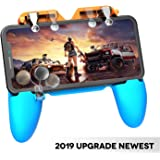 AnoKe Mobile Game Controller - Mobile Triggers, Cellphone Game Trigger, Battle Royale Sensitive Shoot and Aim Gift for Kids Mobile Phone Joystick for iOS Android - Blue & Orange red