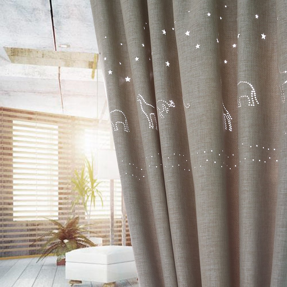 Melodieux Star Hollow Blackout W52 x L84-inches Faux Linen Noise-free Grommet Top Curtain, Star Animal(Beige)