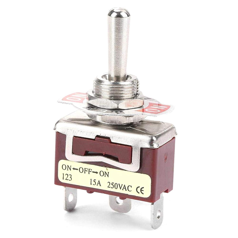 PRINDIY Interruptor de Palanca moment/áneo ON-Off-ON 12mm 3-Pin 3-Position15A 250V Interruptores de Palanca 2pcs