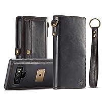 AKHVRS - Funda para Galaxy S8 Plus, hecha a mano, piel auténtica, con tapa de lujo, funda magnética desmontable y ranura para tarjetas ocultas, Negro, Samsung Galaxy Note 9