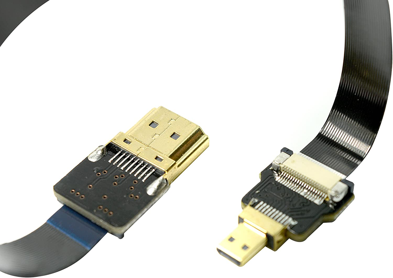 Black FPV HDMI Cable Micro HDMI to Standard HDMI Type A Full HDMI Normal HDMI for panasonic lumix GH4 GOPRO blackmagic BMPCC Sony Alpha Sony A5000 A6000 A7R A7S A6300 A6500 (20CM)