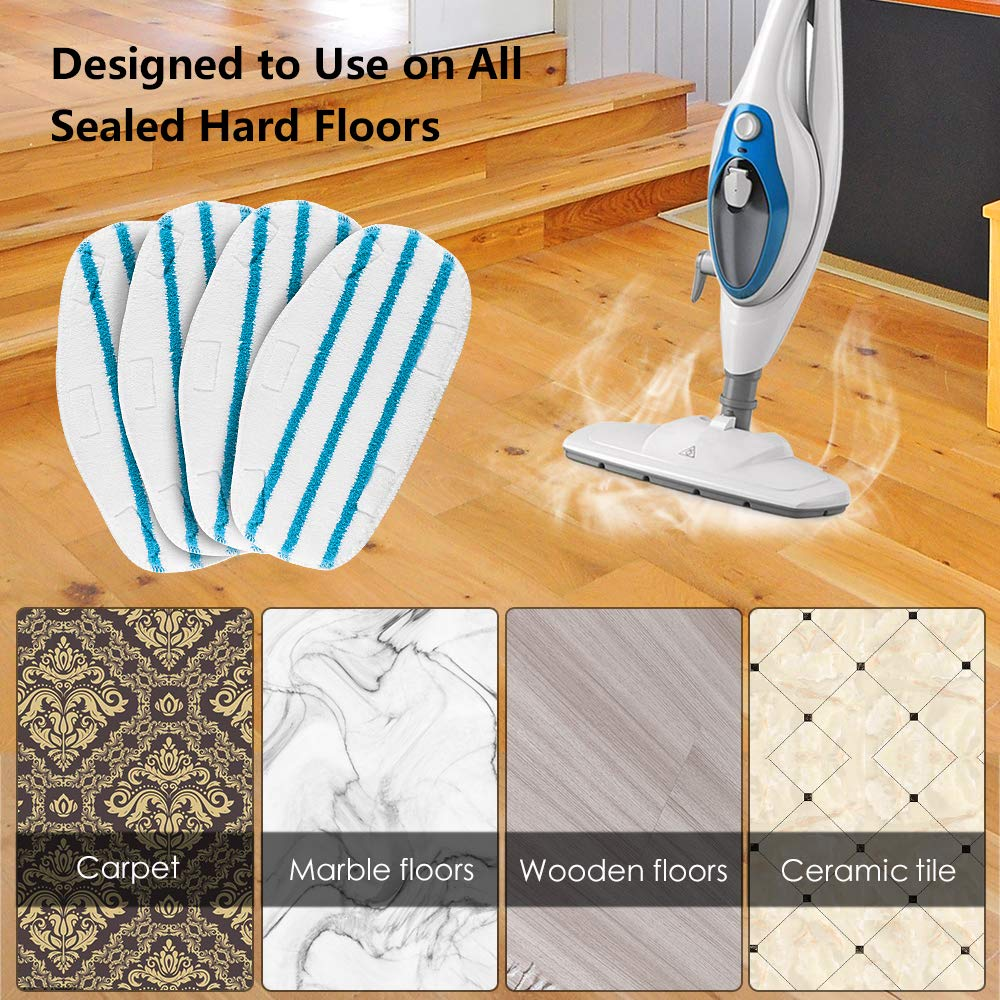 MXZONE 4 Pack Replacement Steam Mop Cleaning Pads Fits PurSteam ThermaPro 10-in-1 Washable