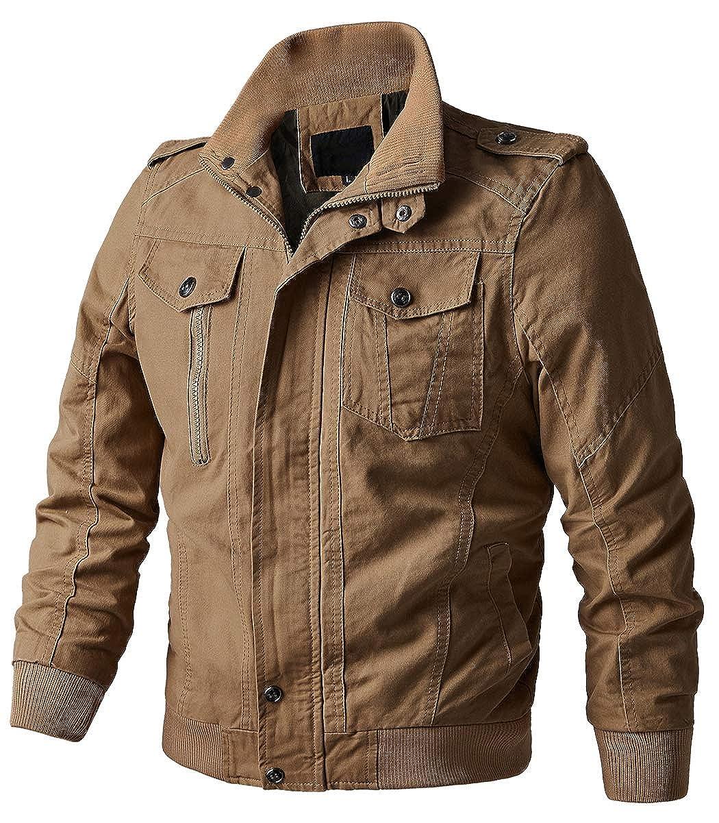 EKLENTSON Men's Casual Military Jackets Windbreaker Cotton Stand Collar Field Jacket Coat EK-112