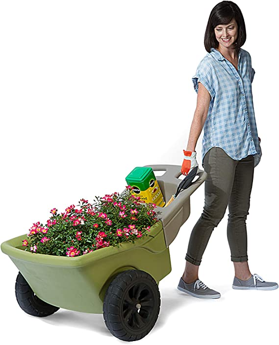 Animal Supplies All in One Bucket Wheels Barrow Lightweight Pull Push Dark Green