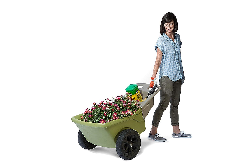Simplay3 Easy Haul Plastic Wheelbarrow w Garden Tool Storage Tray, 4 Cubic ft. Capacity, 2 Wheels – Green