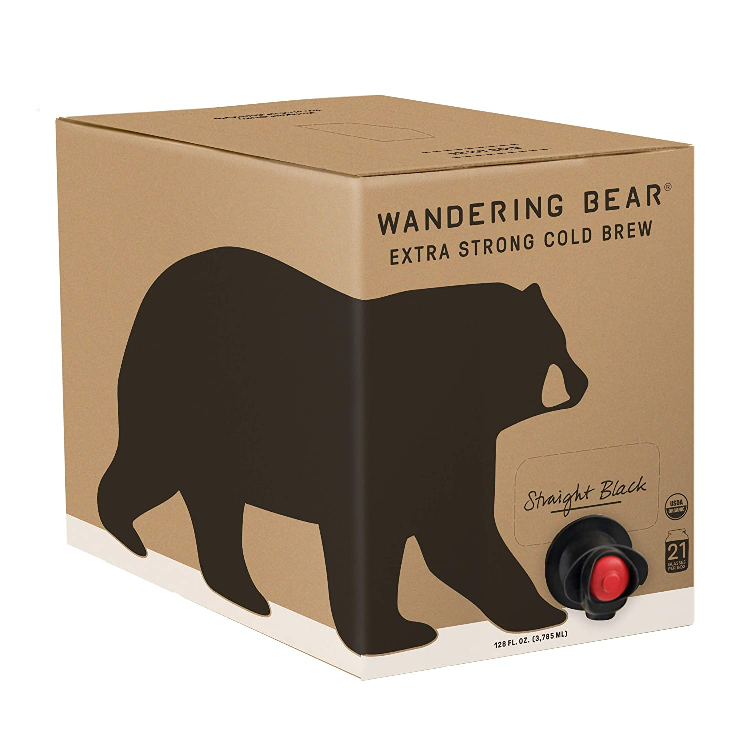 Wandering Bear Extra Strong Organic Cold Brew Coffee On Tap, Straight Black, 128 fl oz (1 gallon) - Smooth, Unsweetened, Shelf-Stable, and Ready to Drink Cold Brew