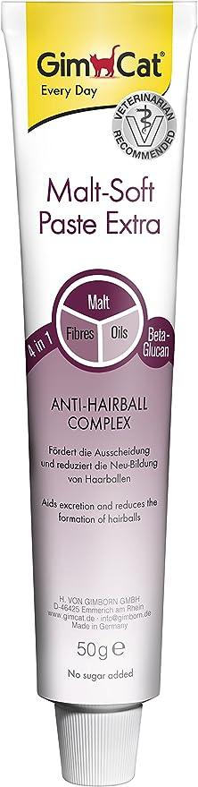 GimCat pasta Malt-Soft Extra , Aperitivo para gatos de fibra de origen vegetal con efecto antibolas de pelo , 1 paquete (1 x 50 g): Amazon.es: Productos para mascotas