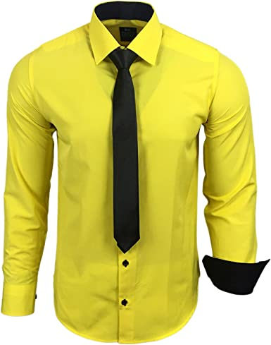 Rusty Neal Camisa para hombre de contraste con corbata, tallas S hasta 6XL