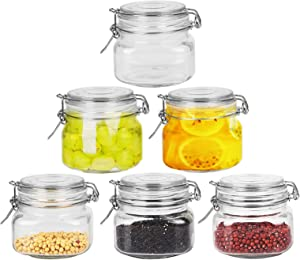 FRUITEAM 16 oz 6 Pack Airtight Glass Canisters with Wire Bail Lids and Rubber Seal Gasket, Glass Jar Ideal for Pasta, Spices, Rice, Gift, Arts, and Crafts Storage