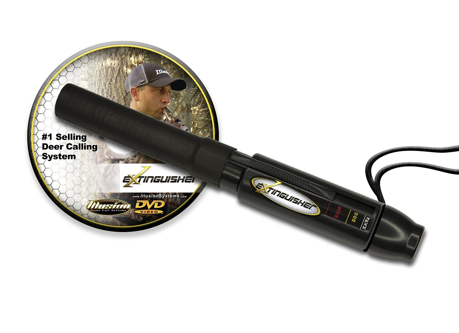 Extinguisher Deer Call (Black) with DVD Instructional + Blitz Clip-On Lighter by Illusion Systems (Image #2)