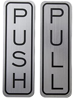 amazon com 2 round push pull door signs brushed silver 2 sets