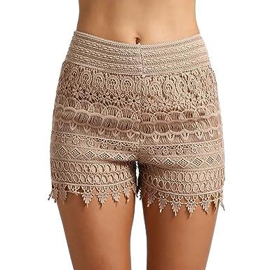 super servicio calidad bueno RETUROM-pantalones cortos ♥-♥-♥-Pantalones Cortos para Mujer, Mujeres 2018  de Las Mujeres Pantalones Cortos de Encaje de Cintura Alta Pantalones ...