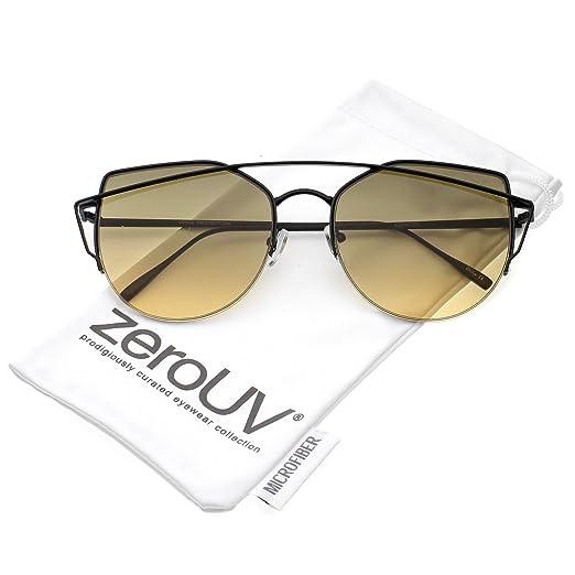 93c84ec06f zeroUV - Women s Semi Rimless Metal Brow Bar Round Colored Flat Lens Cat  Eye Sunglasses (