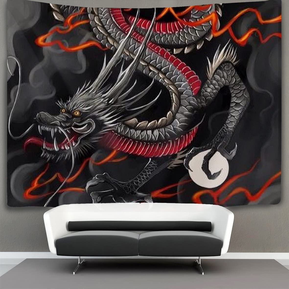 NiYoung Black red Chinese Dragon Dragon Ball Art Wall Tapestry Hippie Art Tapestry Wall Hanging Home Decor Extra Large tablecloths 60×90 inches for Bedroom Living Room Dorm Room