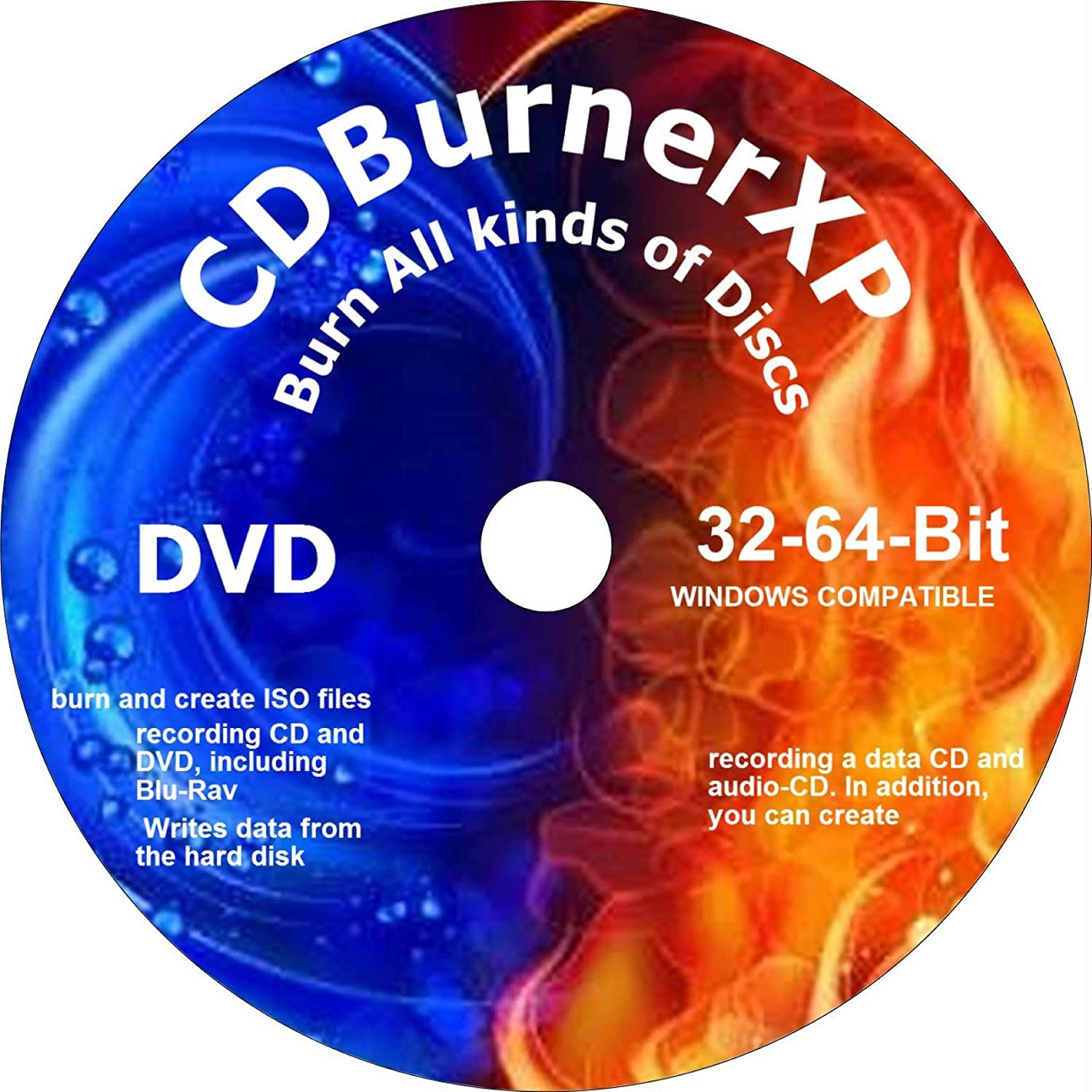 PRO CD/DVD BURNER XP BURNING DVD.+ FREE DVD VIDEO BURN AND CREATE DATA, AUDIO, BLU-RAY, ISO. COMPATIBLE WITH MICROSOFT WINDOWS PC. Great for recording Movies, Music and saving Photos on CD/DVD.