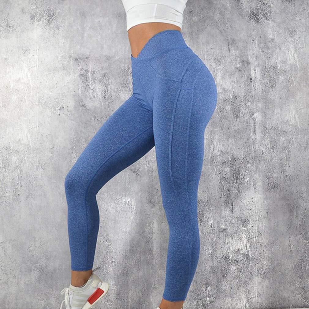 3219bb7f51260 Mxssi Damen Einfarbig Hohe Taille Engen Leggings Frauen Sport Yoga ...