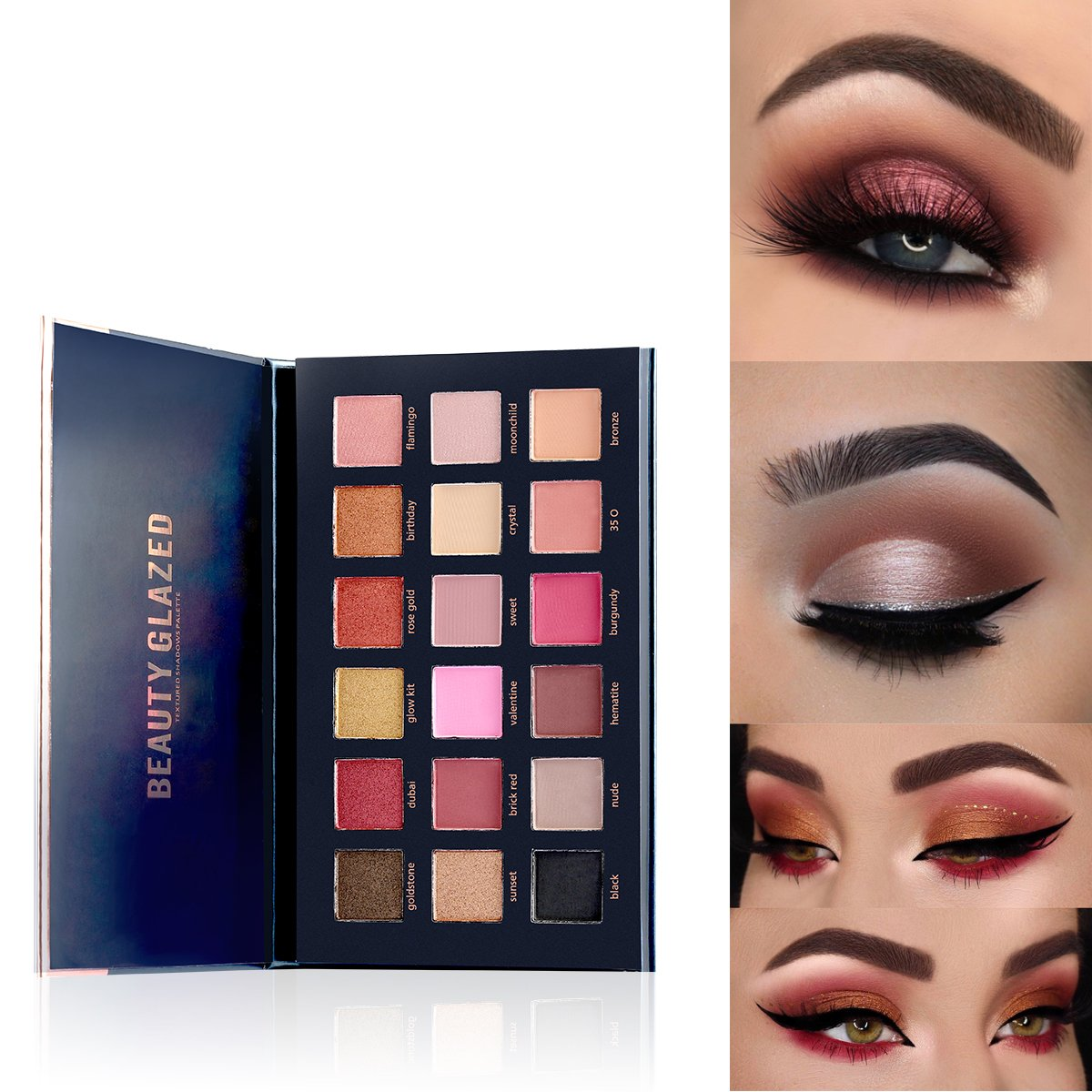 TOPBeauty New Beauty Glzaed 18 Colors Rose Gold Textured Eyeshadow Palette Makeup Contour Metallic Eye Shadow Palette