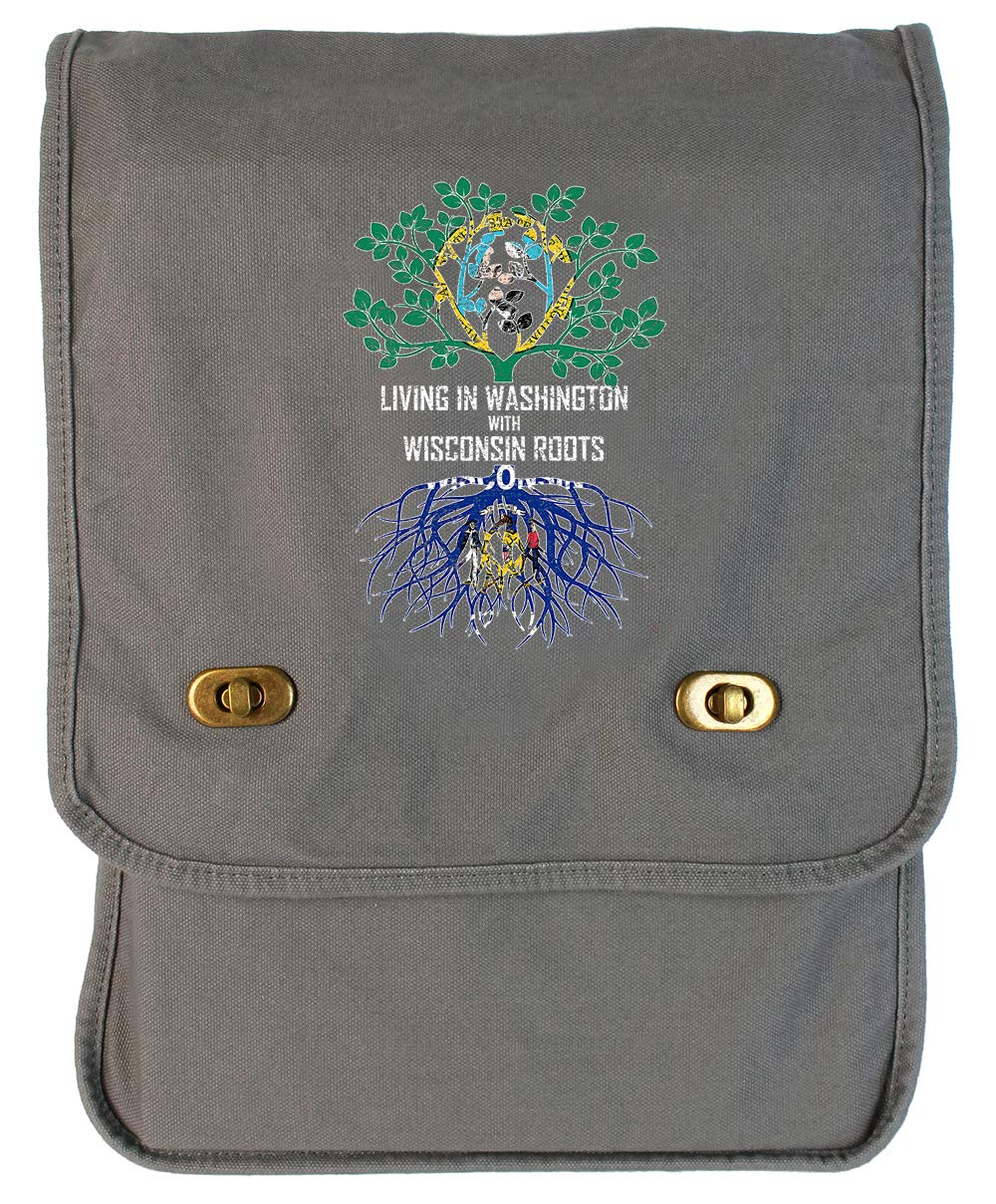 Tenacitee Living In Washington with Wisconsin Roots Grey Brushed Canvas Messenger Bag