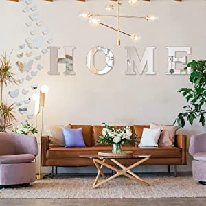 Home Sign Letters Wall Decor - Family Farmhouse Wall Decor Acrylic Decorative Mirror Wall Stickers for Living Room Bedroom Kitchen Housewarming Gift 4 Pack & 35 Pcs Butterfly Wall Stickers
