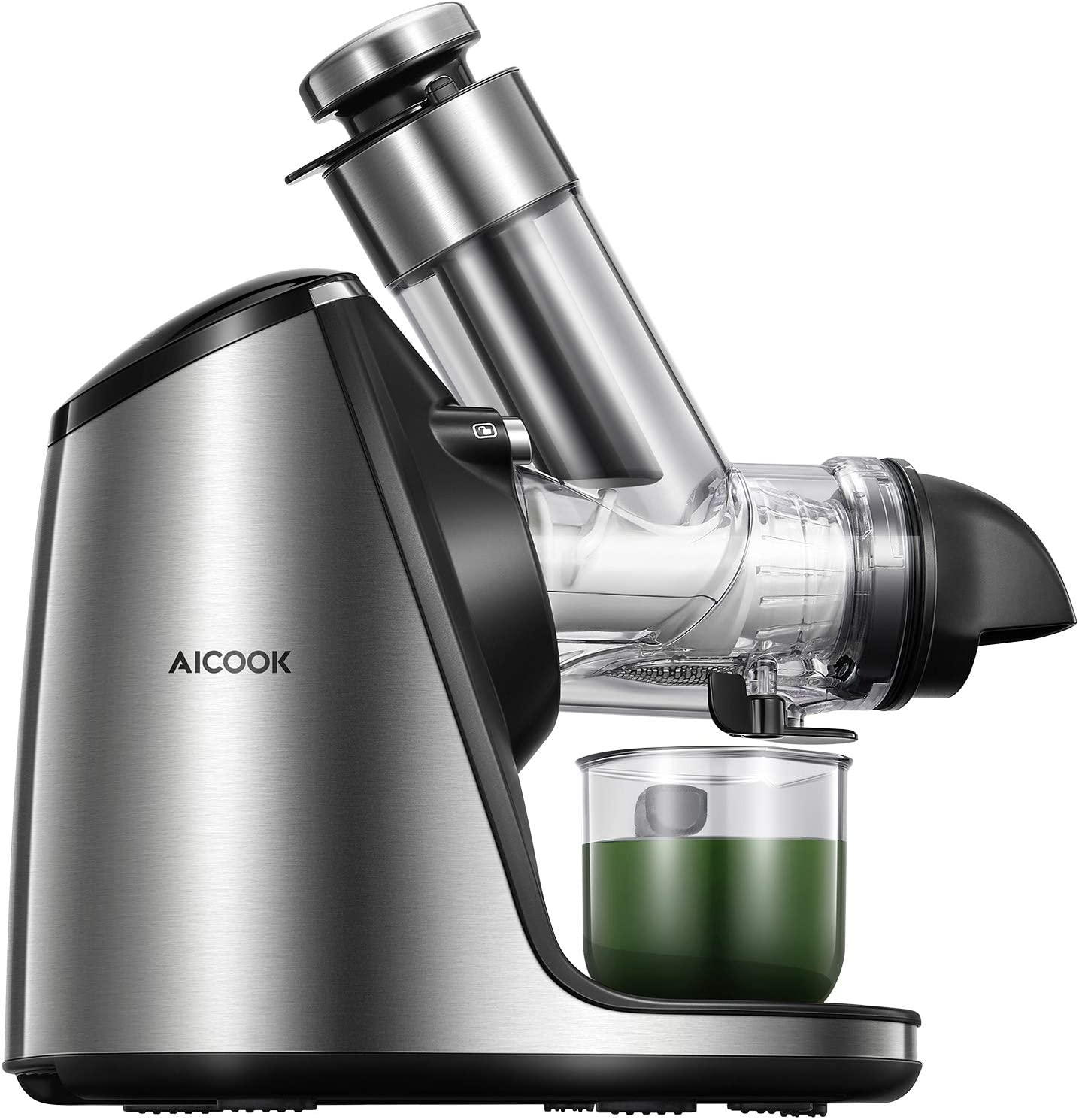 AICOOK Juicer Machines with 3in Large Feed Chute, 200W Slow Masticating Juicer Extractor Easy to Clean. Reverse Function & Quiet Motor, Ceramic Auger, Ice Cream ACC & Recipes for Fruits and Vegtables